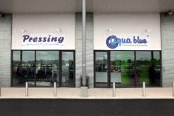 pressing aqua blue
